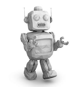 レトロロボットのグレーシェーディングイメージの写真素材 [FYI04648849]