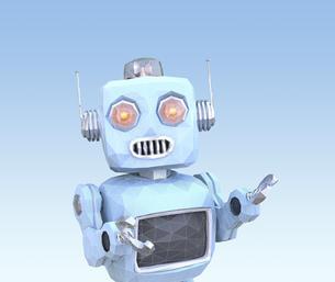 ワイヤフレーム付きのローポリスタイルロボットのイラスト素材 [FYI04648851]