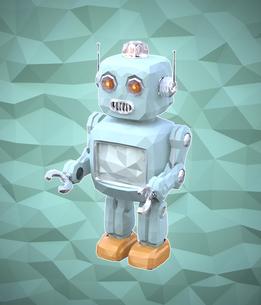 ローポリスタイルロボットのイメージの写真素材 [FYI04648855]