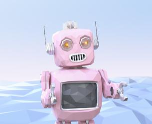 ピンク色のローポリスタイルレトロロボットのイメージの写真素材 [FYI04648863]