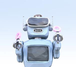 VRヘッドセットを装着して踊っているローポリロボットのイメージの写真素材 [FYI04648866]
