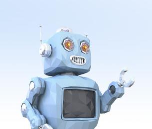 青色のローポリスタイルロボットのイメージの写真素材 [FYI04648868]