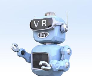 VRヘッドセットを装着しているローポリロボットのイメージの写真素材 [FYI04648872]