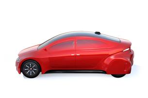 メタリックレッド色の自動運転車のイメージの写真素材 [FYI04648876]