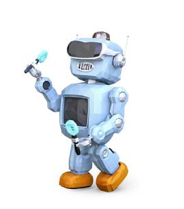 VRヘッドセットを装着して踊っているローポリロボットのイメージの写真素材 [FYI04648878]
