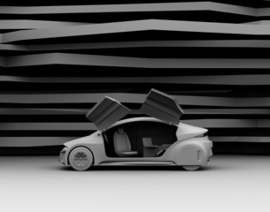 背景用グレーシェーディングの電気自動車イメージの写真素材 [FYI04648905]