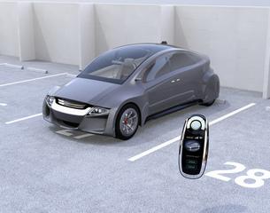 電気自動車とスマートエントリーキーの写真素材 [FYI04648913]