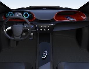 電気自動車のセンターコンソールに置いてあるスマートエントリーキーの写真素材 [FYI04648918]