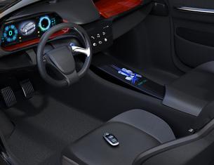 運転席シートに置いてあるスマートエントリーキーの写真素材 [FYI04648923]