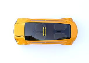 黄色いタクシーの上面図イメージの写真素材 [FYI04648948]