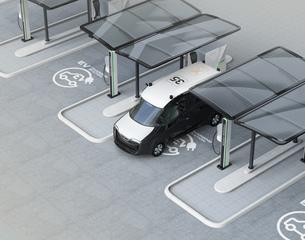 充電スタンドに充電している電気自動車イメージの写真素材 [FYI04648985]