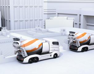 工事現場に待機しているトラックミキサのCGイメージの写真素材 [FYI04649012]