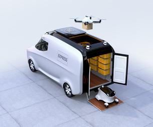 自動運転宅配車、配達ドローンとロボット。ラスト1マイルコンセプトの写真素材 [FYI04649014]