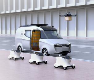 自動運転宅配車、配達ドローンとロボット。ラスト1マイルコンセプトの写真素材 [FYI04649015]