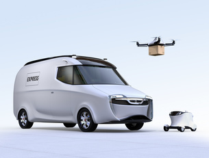 自動運転宅配車、配達ドローンとロボット。ラスト1マイルコンセプトの写真素材 [FYI04649016]