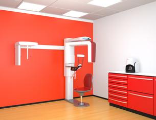 ワインレッドカラーに統一されたデンタルレントゲン室のイメージの写真素材 [FYI04649033]