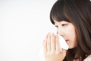 鼻をかむ若い女性の写真素材 [FYI04656042]