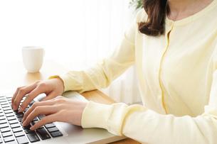 パソコンで入力する女性の写真素材 [FYI04656983]