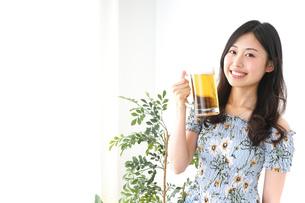 ビアガーデンでビールを飲む若い女性の写真素材 [FYI04657356]