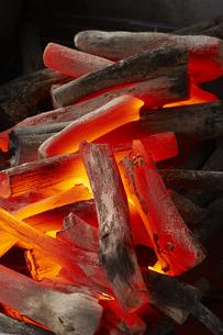 燃える炭火(紀州備長炭)の写真素材 [FYI04659758]
