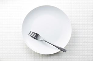 モザイクタイル-白-丸皿の写真素材 [FYI04660076]