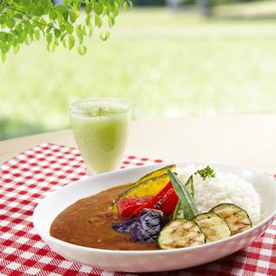 夏野菜カレー キウイスムージーの写真素材 [FYI04661218]