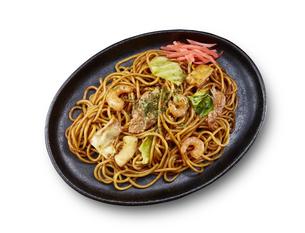やきそば(真俯瞰)Yakisoba (stir-fried soba noodles)の写真素材 [FYI04661723]
