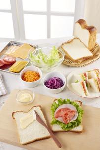 家族でお出かけ みんなの分のサンドウィッチ製作中の写真素材 [FYI04662143]