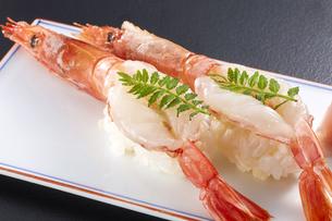 有頭生海老の握り寿司 (raw shrimp)の写真素材 [FYI04662276]