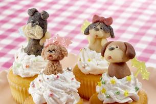 カップケーキにマジパンでつくったわんこを乗せての写真素材 [FYI04663024]