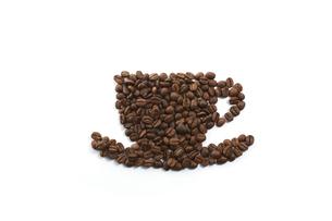 コーヒー豆でコーヒーカップの写真素材 [FYI04663096]