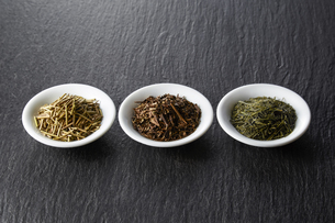 お茶3種(加賀棒茶 ほうじ茶 緑茶)の写真素材 [FYI04663219]
