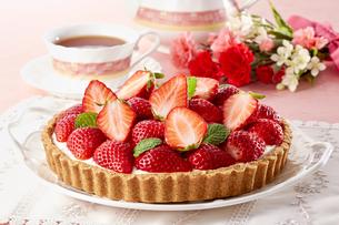 甘酸っぱい苺のレアチーズタルトの写真素材 [FYI04663381]