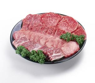 牛肉-焼肉用-生肉-切り抜き-影イキ-皿盛りの写真素材 [FYI04663640]