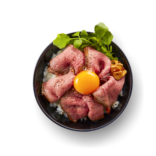 ローストビーフ丼(バック飛ばし、影イキ)の写真素材 [FYI04663978]