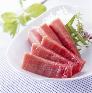 本まぐろ 中トロ (Slices of raw tunny)の写真素材 [FYI04664097]