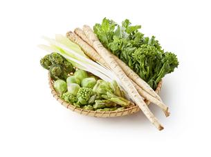 山菜(たらの芽、こごみ、ふきのとう、うるい、菜の花、芽キャベツ、新ごぼう)の写真素材 [FYI04664975]