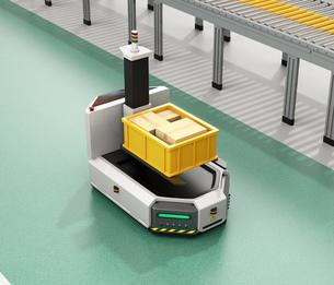 工場に部品箱を運んでいるフォークリフト型無人搬送車AGV。スマート工場のコンセプトの写真素材 [FYI04665744]