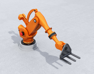 オレンジ色の大型産業用ロボットのイメージの写真素材 [FYI04665751]