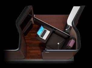 黒バックに個室型ビジネスクラススイートのコンセプトイメージの写真素材 [FYI04665754]