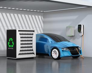 EV使用済みのバッテリー再利用リユースシステムで電気自動車や家に電力供給するコンセプトの写真素材 [FYI04665764]
