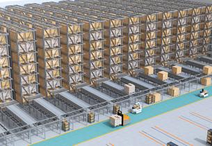 大型自動物流センターのインテリアイメージ。AGV無人搬送車、無人運転フォークリフトによる効率化の写真素材 [FYI04665767]