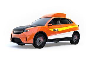 白バックに捜索ドローンを収納した災害救助SUVのコンセプトイメージの写真素材 [FYI04665769]