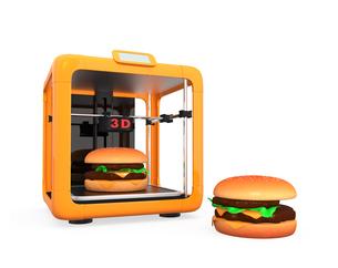 3Dプリンタでハンバーガーを作るの写真素材 [FYI04665771]