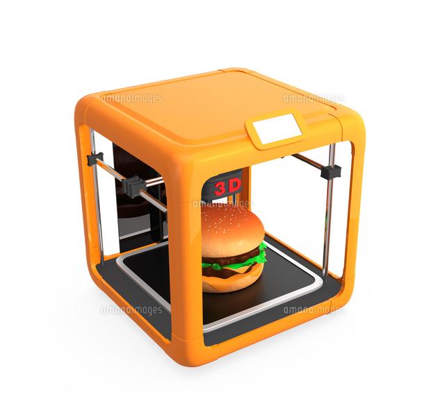 3Dプリンタでハンバーガーを作るの写真素材 [FYI04665775]