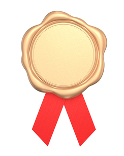 赤いリボン付き金色ワックスシールの写真素材 [FYI04665779]