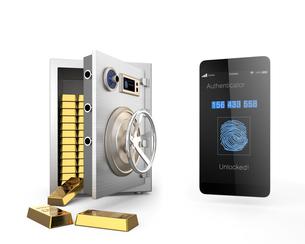 スマートフォンによる2段階認証可能な金庫のコンセプトの写真素材 [FYI04665800]