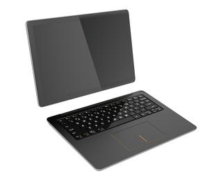 タブレットとキーボードにセパレートされた着脱式ノートパソコンのイラスト素材 [FYI04665815]
