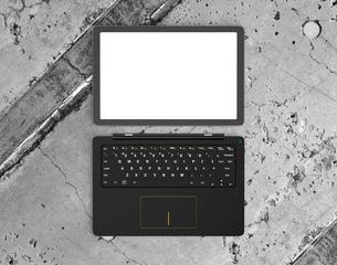上から見るタブレット、キーボードに分離された着脱式PCのイラスト素材 [FYI04665818]