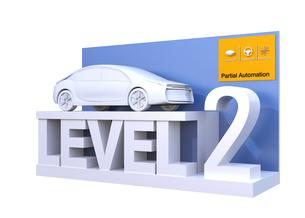 自動運転レベル分類のコンセプト。ドライバーが一時的操縦不要のレベル2、部分的な自動化の写真素材 [FYI04665822]